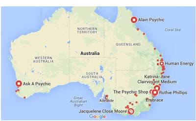 Australia Map with Psychics
